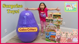 Huge Calico Critters Egg Surprise Opening New Toys!