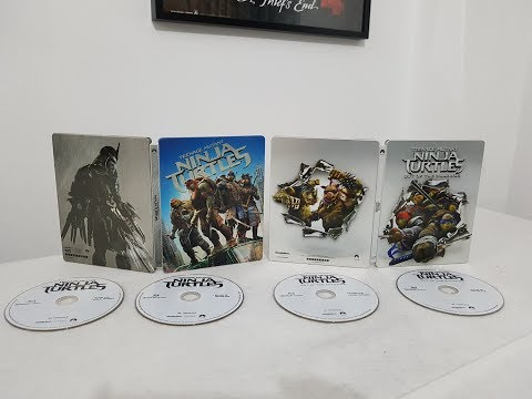Teenage Mutant Ninja Turtles 1 & 2 3D Steelbook Editions Bluray Movies unboxing