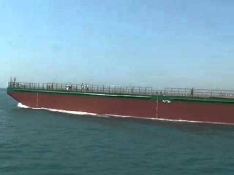 3200 dwt deck pontoon barge launching