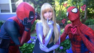 SPIDER-MAN \u0026 DEADPOOL meet SPIDER-GWEN - Real Life Superhero Movie - LOVE TRIANGLE