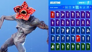 *NEW* Fortnite Demogorgon Stranger Things Skin Outfit Showcase with All Dances & Emotes