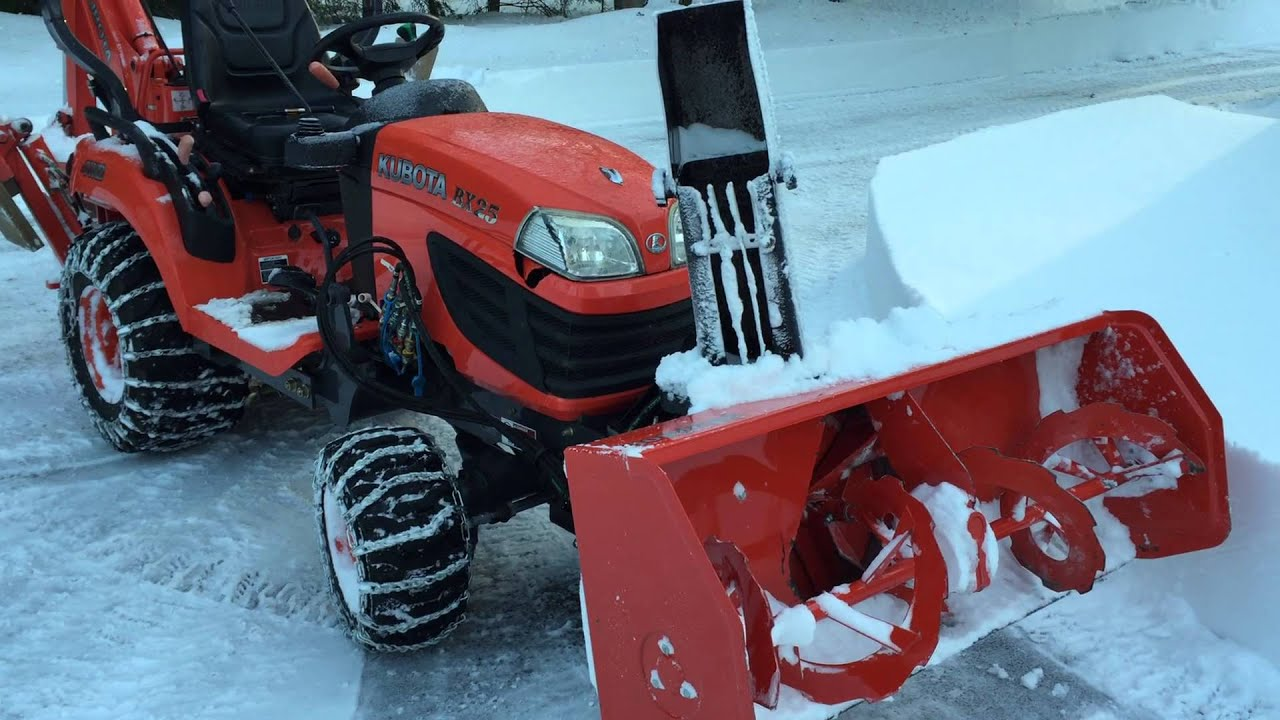 Kubota BX25 with Snow Blower attachment. Video 1 ...