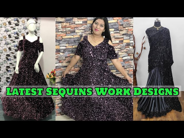 Partywear Readymade Sequins Gown/Partywear Sequins Saree/Indian Clothing/ Online Shopping Review