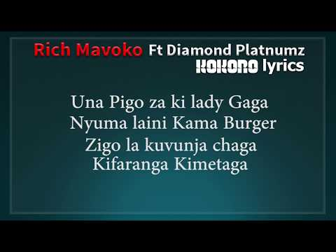 Rich Mavoko Ft Diamond Platnumz - Kokoro ( Lyrics )