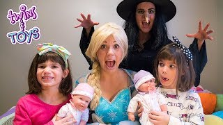 FROZEN ELSA saves princess babies from the Wicked Witch!