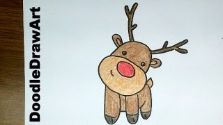 Drawing: How To Draw a Cute Cartoon Rudolph Reindeer Baby - Easy Lesson Step by Step for kids [HD]