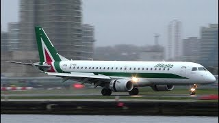 Alitalia Embraer E190 Action at London City Airport