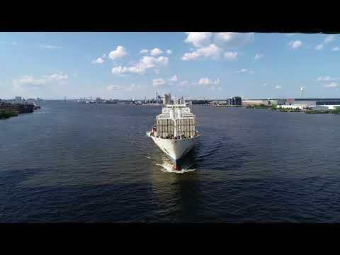 Aerial Drone Video of Cargo Ship Reefer Hornbay Delaware River Philadelphia