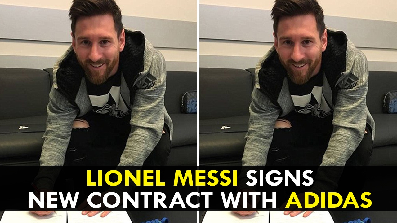 4695584b0aee Lionel Messi signs new contract with Adidas - YouTube
