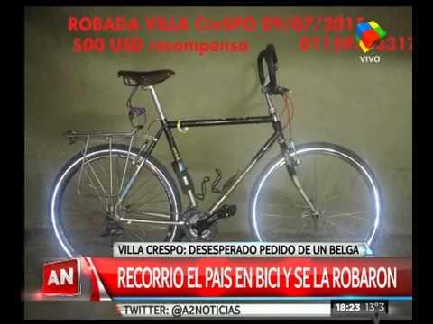 Un turista belga recorría el país en bici y se la robaron