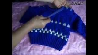 Рукоделие вязание детской кофточки (пуловера) спицами (часть 2)
