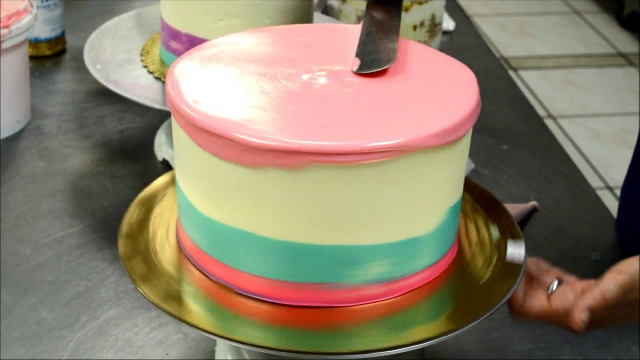 Pink And Blue Cake With White Chocolate Decoration Youtube
