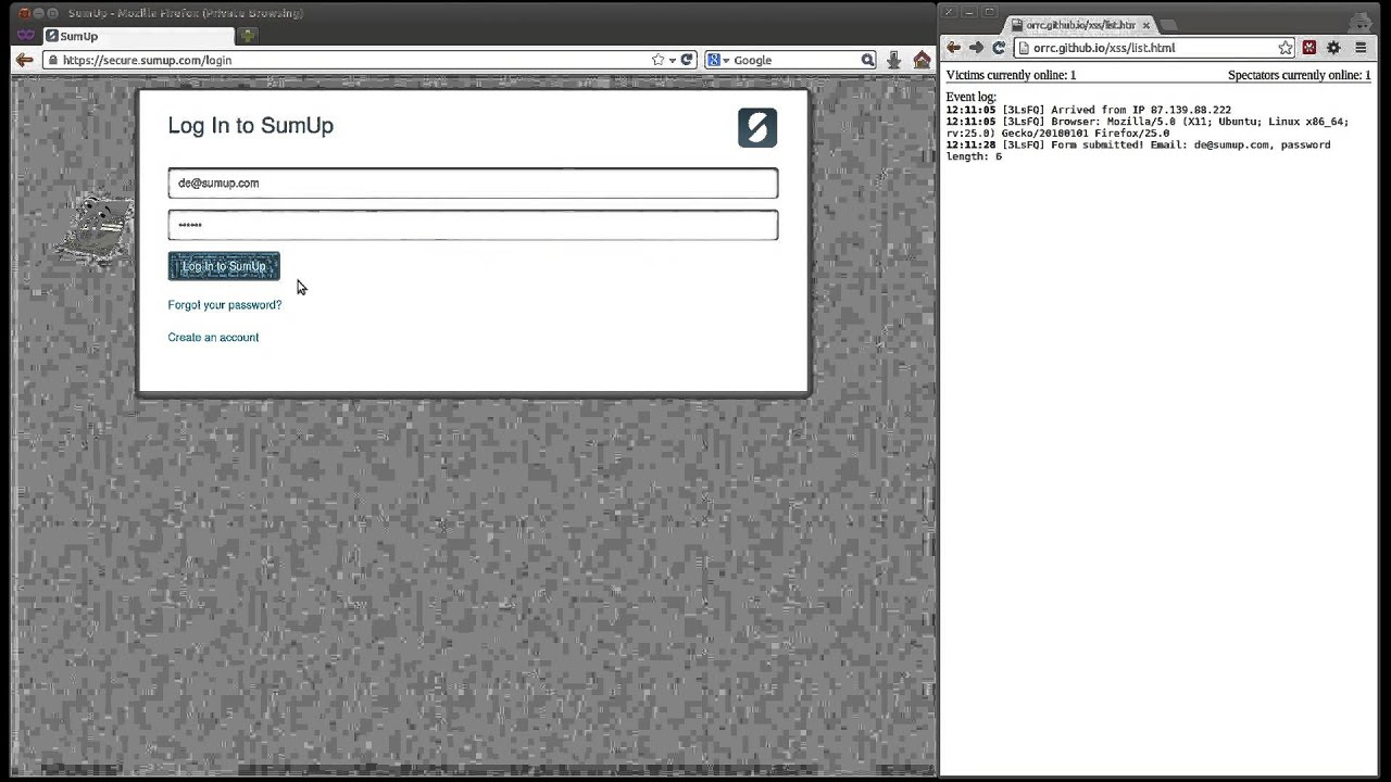 XSS security vulnerability on secure sumup com
