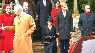 Meghan Performs DEEP LOW Curtsy To Queen At Church | Sandringham Christmas Morning 2018