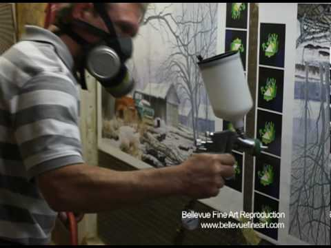 Giclée Canvas Spray Booth - Spraying with HVLP spray gun