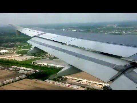 Daytime landing at Indianapolis International Airport