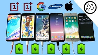 Oneplus 5T vs Pixel 2 XL vs S8 vs iPhone 8 Battery Charging Speed Test!