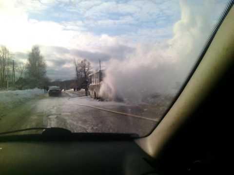 Загорелся автобус в Пучежском районе Ивановской области