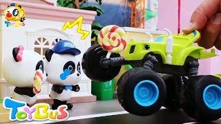 Bad Monster Car Stole Baby Panda's Candy | Monster Police Car | Paw Patrol Team | Kids Toys | ToyBus