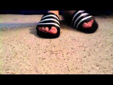 2da199174 Adidas Adilette Sandals (white black) on foot - YouTube