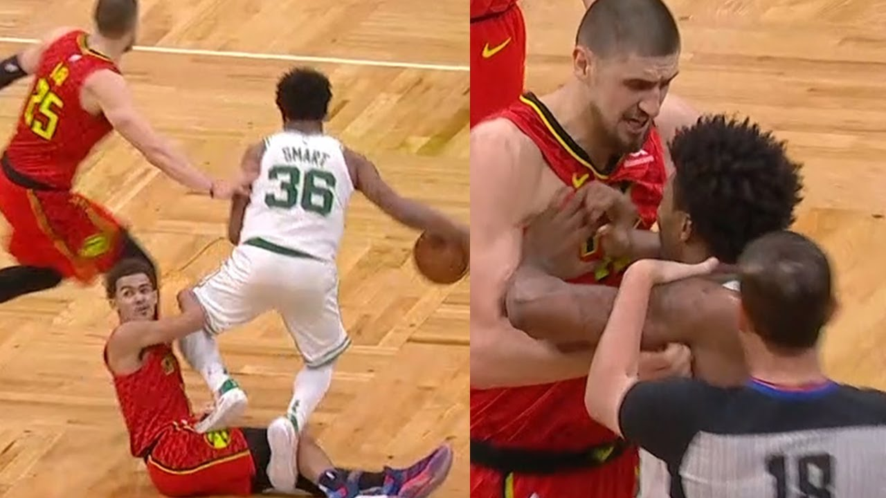 Marcus Smart walks over Trae Young and taunts him | Celtics vs Hawks