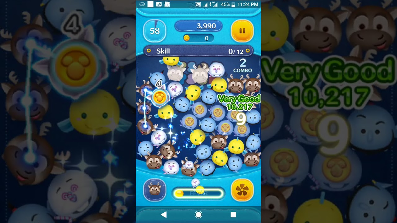 Disney Tsum Tsum : Use 12 Skills in 1 play with a horn Tsum Tsum - YouTube