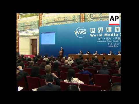 President Hu's speech at World Media summit, ADDS AP CEO, Iran rep