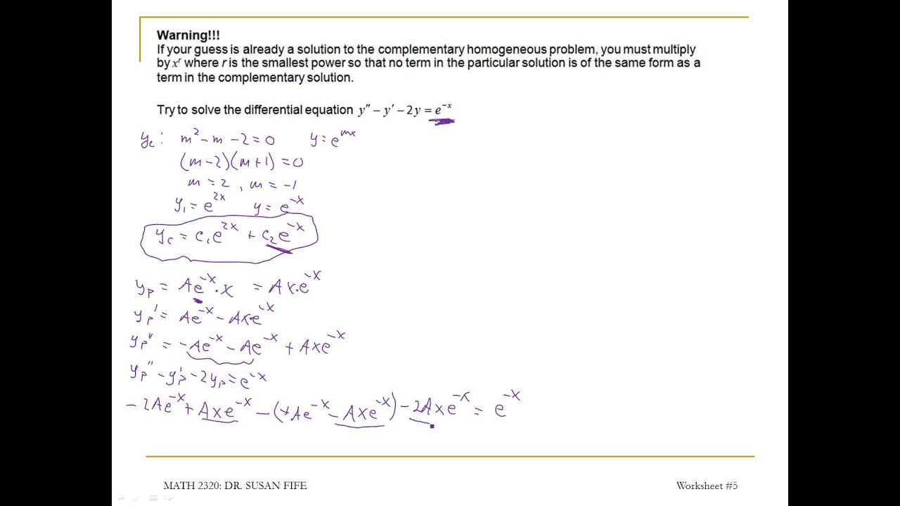 Differential Equations YouTube – Differential Equations Worksheet