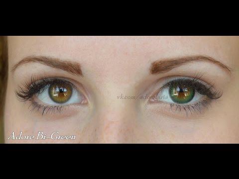 Цветные контактные линзы ADORE на карих глазах. Lenses ADORE on dark eyes. HD