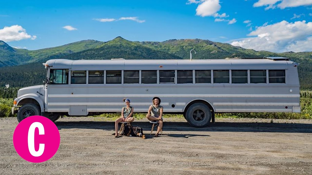 This Couple Turned an Old Bus Into a Tiny Home | Cosmopolitan on bus with bullet holes, vw bus made into home, bus wheelchair inside, bluebird bus tiny home, school bus conversion into home, my bus home, hippie bus made into home, bus earrings, bus ride home,