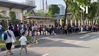 Queue at Malaysian High Commission in Singapore at around 8am on Friday (March 19)