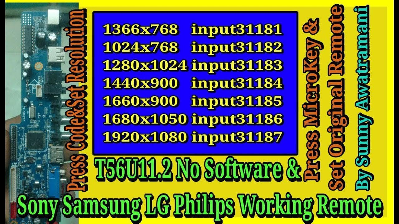 LG SONY PHILIPS SAMSUNG REMOTE in T56U11 2 With Resolution Codes Subtitles