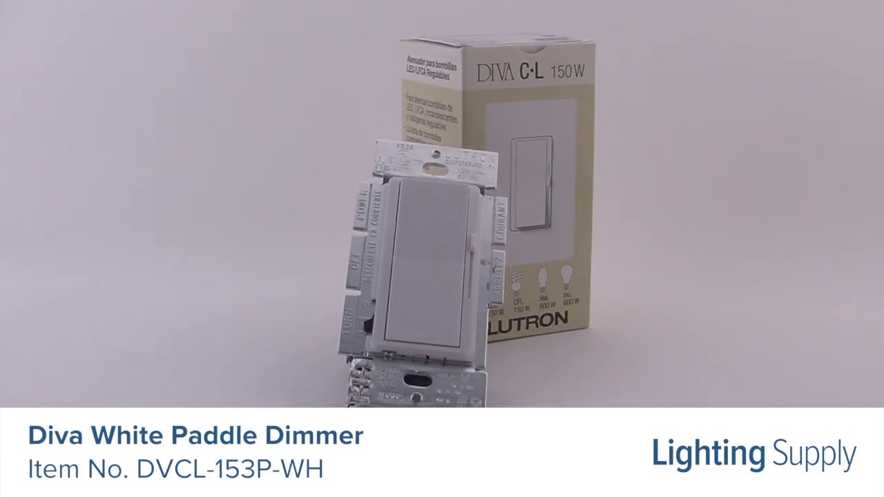 Lutron Diva White Paddle Dimmer Dvcl 153p Wh Youtube