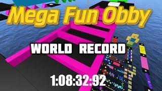 Roblox-mega Fun Obby qualquer% (550 estágios)   1:08:32:92 * antigo recorde mundial *