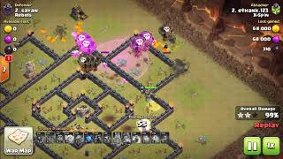 2018 Clash of Clans. TH9 war. X-spin. #51 - Queen walk laloon and Gowiwi.