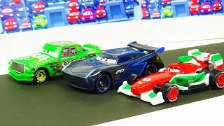 Disney Cars Toys Jackson Storm VS Chick Hicks VS Francesco Bernoulli Race! Stop Motion Animation