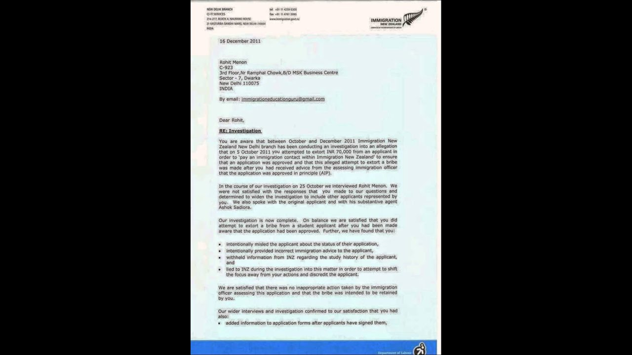 Warning Letter Rohit Menon Ex Visa Officer New Zealand High Commission