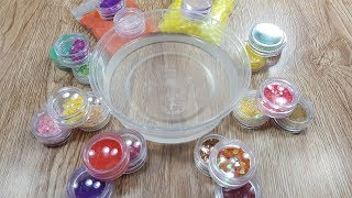 Mixing Beads and Glitter into Clear Slime - Satisfying Slime Videos