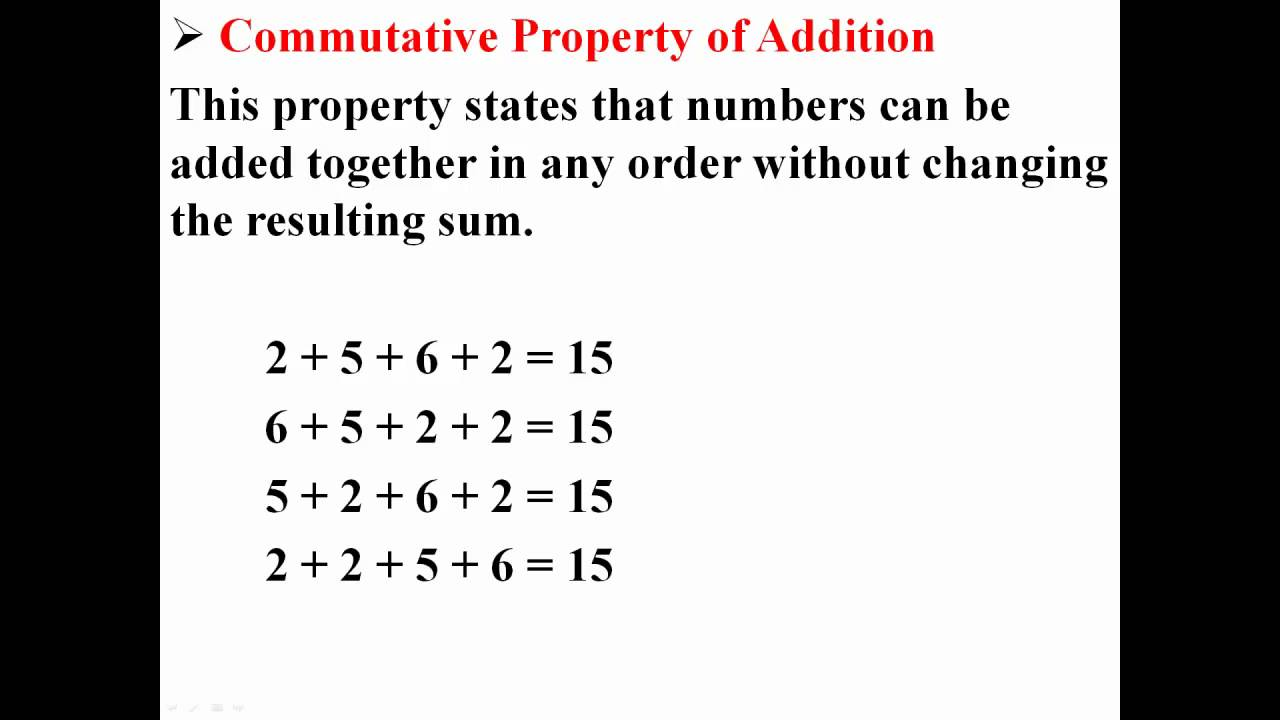 Commutative Property Of Addition Youtube