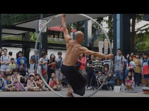 Watch: Taiwan's spinning acrobatic artist