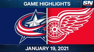 NHL Game Highlights | Blue Jackets vs. Red Wings - Jan. 19, 2021