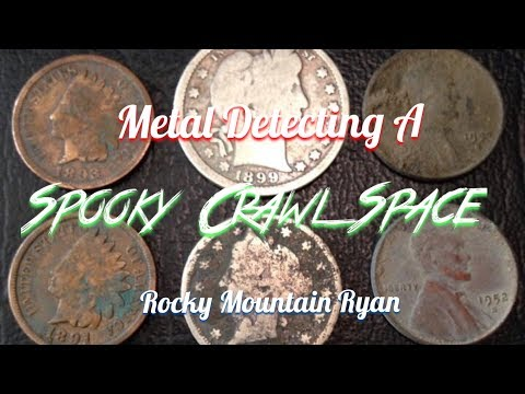 Metal Detecting- A Spooky Crawlspace with Spiders...And Silver!