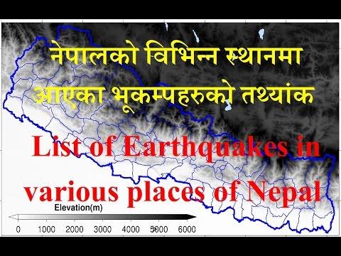 List of Earthquakes in various places of Nepal[नेपालको विभिन्न स्थानमा आएका भूकम्पहरुको तथ्यांक]