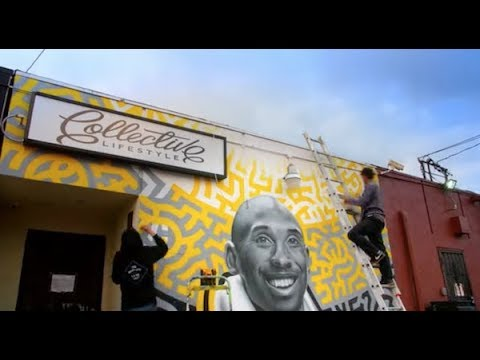 b5b0fa3a4ba44 Artist Levi Ponce Paints Kobe Bryant Mural at Collective Lifestyle in LA  Valley in Northridge