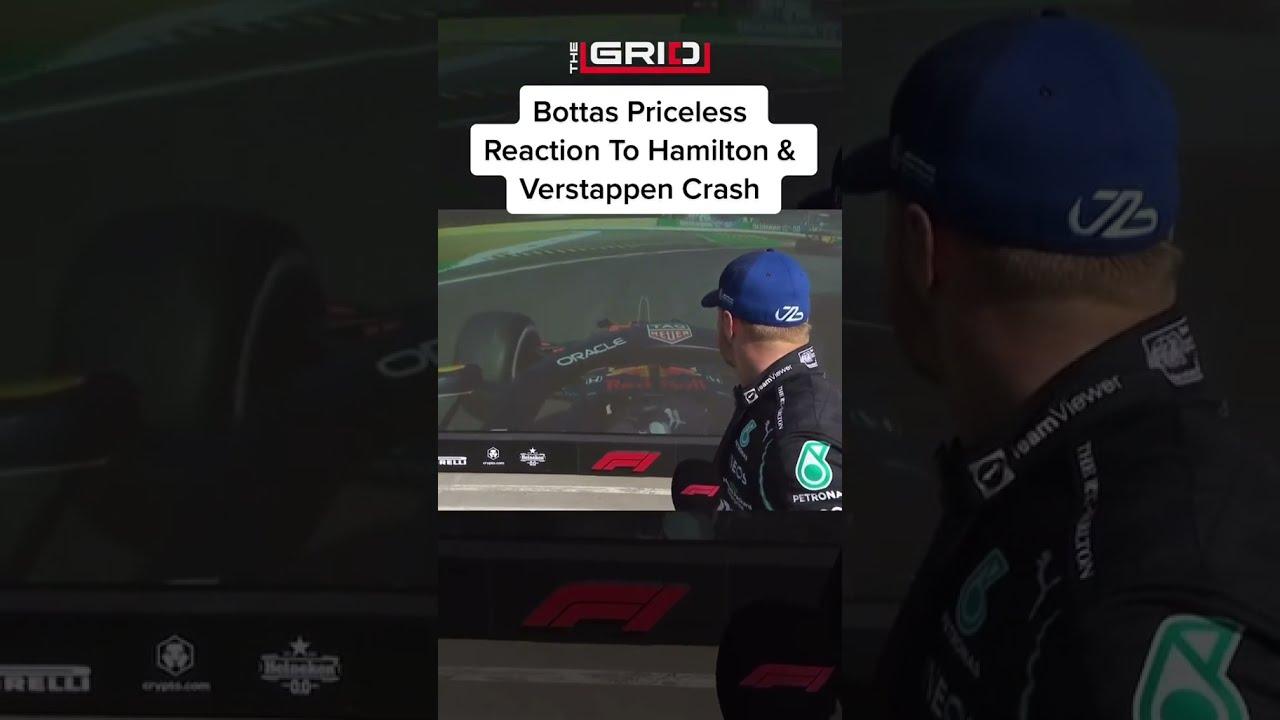 Bottas Priceless Reaction To Hamilton Crash - The Grid