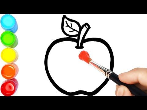 Menggambar Dan Mewarnai Buah Buahan Apel Pisang Jeruk Dan Pir