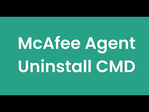 How to uninstall Mcafee Agent from CMD