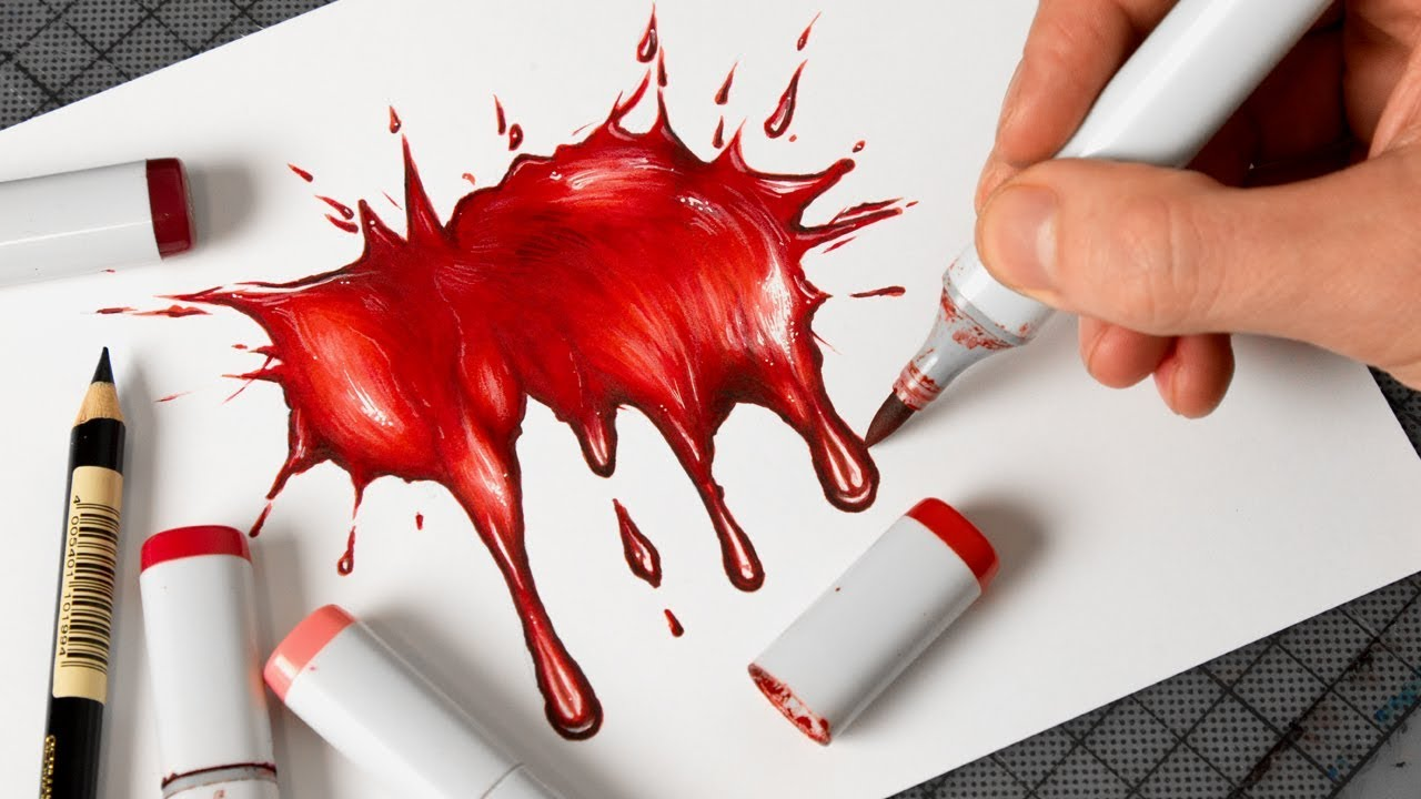 how to draw blood with copic markers