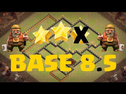 Top base de guerre hdv 8.5 (SANS ARC X, 3 ANTI AIR + 25 MURS + REINE)