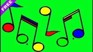 Music Notes Falling Green Screen | Animated Music Notes | Green Screen Footage.